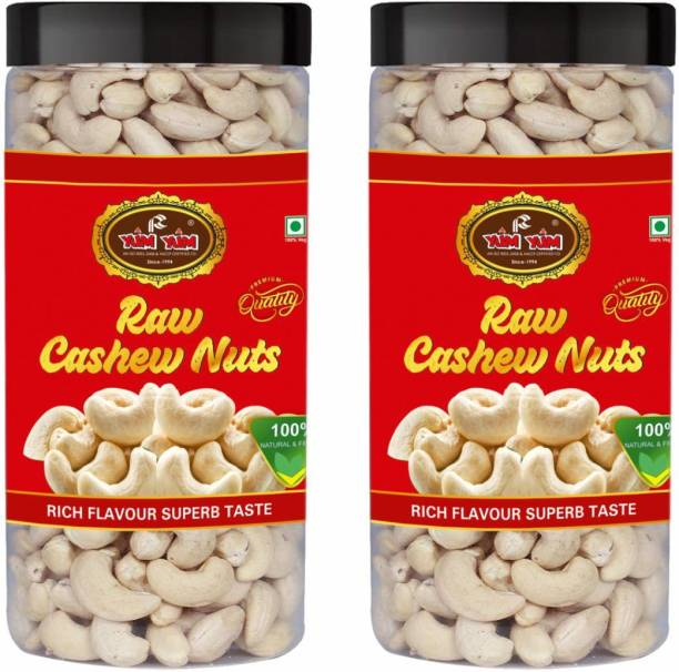 YUM YUM Premium Raw Cashew Nut (Kaju) 1kg ( Pack of 2- 500g Jar Each) Cashews