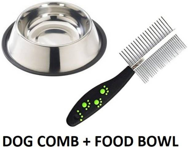 Hachiko Best Quality Dog Needs Combo Of 2 Imported High Quality Grooming Double Sided Pet Comb Stainless Steel Pin + Food Bowl for Removing Shedding Comb Basic Comb for All Pets Basic Comb for  Dog, Cat, Rabbit, Hamster