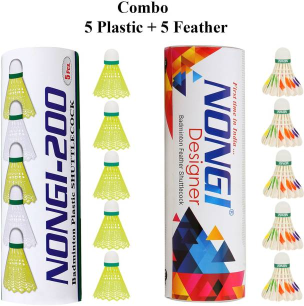 Nongi Badminton shuttle (D6 & 200) combo pack of 10 for indoor outdoor sport Feather & Plastic Shuttle  - Yellow