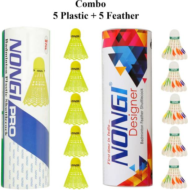 Nongi Badminton shuttle(D6 & Pro) combo pack of 10 for indoor outdoor sport Plastic & Feather Shuttle  - Yellow