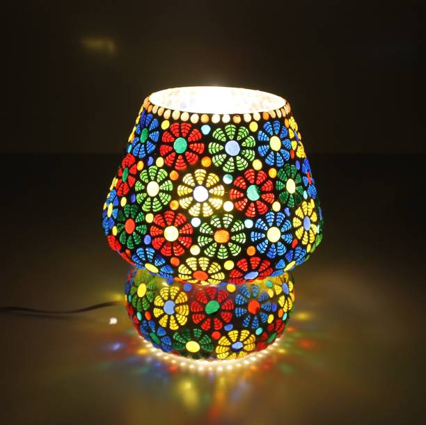 Vishal Handicraft Mosaic Table Lamp Combination of Colour Beads Mushroom Round Dome Shape Mosaic Bedside Table Turkish Lamps with Colorful Light for Home Decoration Bedroom (17 cm) Table Lamp