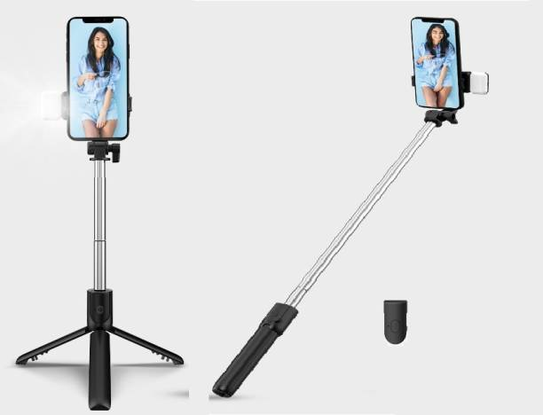Filiz R1S Professional Video and Picture Catcher Bluetooth Selfie Stick with Flash Light 360 Degree Rotation with Tripod Stand Features Tripod