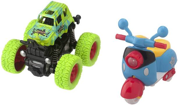 K A Enterprises Pack of 2 Friction Vehicle Toys for Toddlers, Boys, Girls, Baby Toys Birthday Gift for 3,4,5,6,7 Year old kids ( Push & Go Green-Mini Monster Truck AND Press & Mini Scootrer Toy) (set of 2 toys)