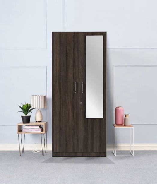 Wakefit Gingham Wall Anchored Engineered Wood 2 Door Wardrobe