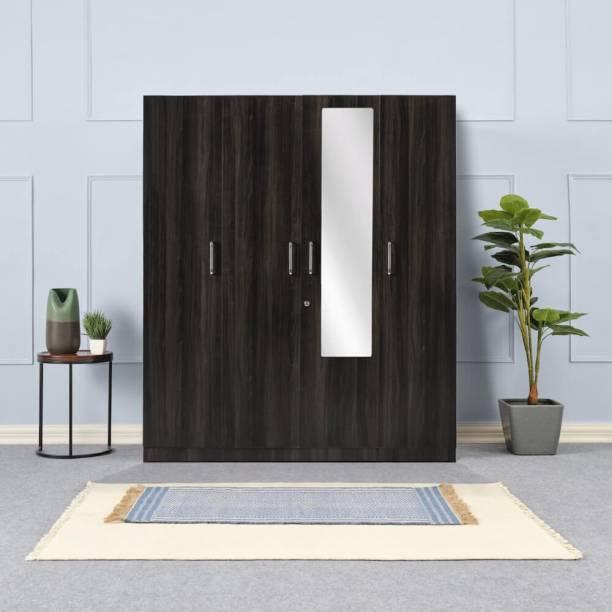 Wakefit Gingham Engineered Wood 4 Door Wardrobe