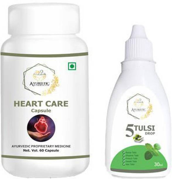 Ayuristic Heart Care Combo   Heart Care Caps 60 + 5 Tulsi Drops 30 ml   Completely Natural   No side effects