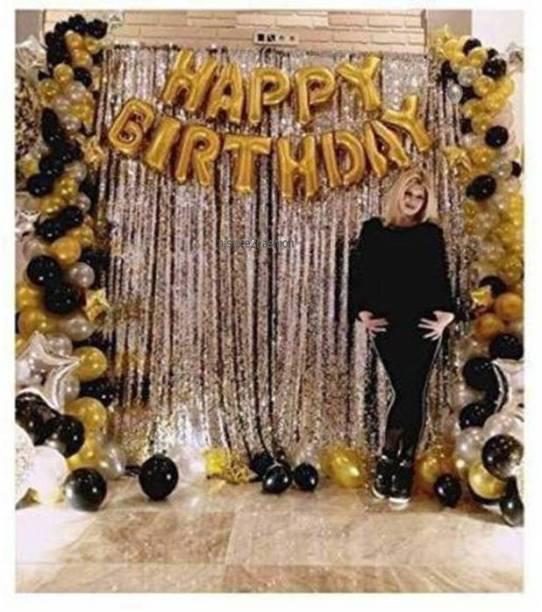 Inispire2Fashion Solid Happy Birthday decoration (36 combo pak) Happy Birthday Golden foil banner balloons (13 foil latter 1 pak) / 2 Pcs silver Metallic Fringe Shiny Curtains /21 Pcs latex Metallic balloons for decoration.(pak of 36) Letter Balloon