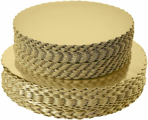 GOLDVINE Combo 8 INCH, 10 INCH Round Flower Cut Cake Board, Base, 20 Piece Star Board Quality With Thermal Lamination Paper Cake Server