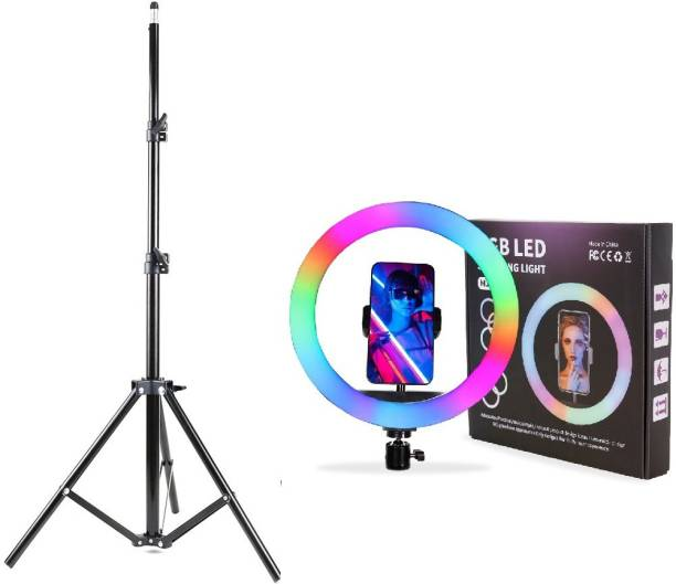 Yiweto RGB 12 Inch Ring Light With 2.1 Big Tripod Mobile Stand Foldable Umbrella Flash Light Stand Compatible With All Smartphones & Cameras, For Live Streaming, Make up, Video Conference, Online Classes 2500 lx Camera LED Light