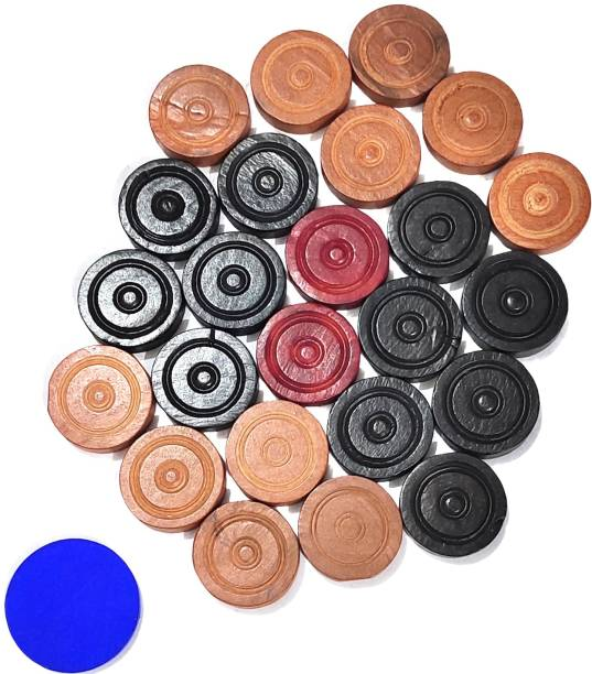 IFW Carrom Coin Set of 24 coins with Stricker And Powder Board Game AccessoriES Carrom Pawns