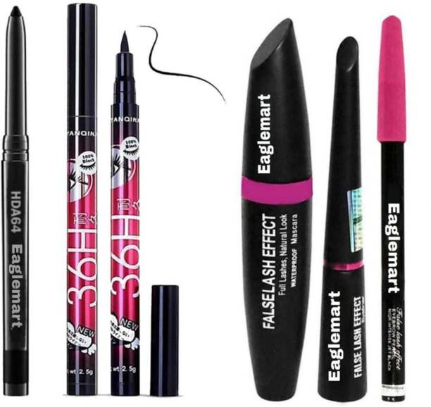 eaglemart Smudge Proof Makeup Beauty Kajal & Yanqina High Quality Waterproof Liquid-Eye Liner 36H No Smudge Suitable For Contact Lens Users 3 g Deep Black & 3in1 Beauty Eyeliner , Mascara , Eyebrow Pencil