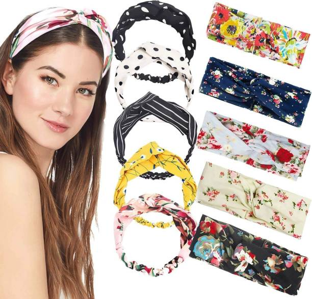 OBAMA Hair Band Fashion Elastic Headbands Cotton Twisted Cross Head Wrap Hair Band Head Accessories for Women and Girls Simple Headband Headdress, Random Colors and Designs Pack of 6 Pcs Hair Band