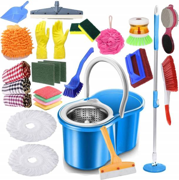 JSN Easy Magic Spin Floor Mop 360 Degree Bucket Mop with Steel Spinner 2 Refill Mop Combo Pack Steel Mop set with Bucket Home Cleaning Set Toilet Brush, Cleaning Brush, Duster, Scrub Pad, Cleaning Cloth, Glove, Dustpan, Cleaning Wipe, Dustbin, Kitchen Wiper, Floor Wiper, Mop Refill, Mop, Bucket, Mop Set