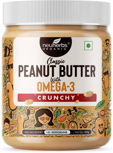 Neuherbs Classic Peanut Butter Crunchy with the Power of Omega-3, Gluten free, Non-GMO | 26g Protein 400 g