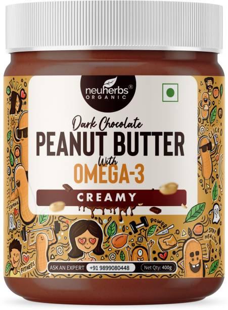 Neuherbs Dark Chocolate Peanut Butter Creamy with the Power of Omega-3, Gluten free, Non-GMO | 19g Protein | (Chocolate Flavour) 400 g