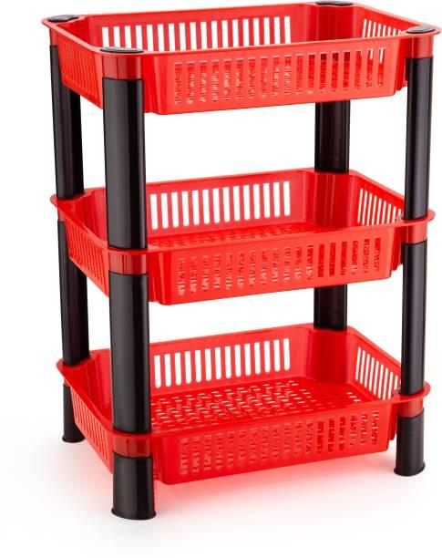 Dev Enterprise Rack Premium Plastic 3 Steps Kitchen Stand Rack Basket for Office Use, Fruits Onion, Potato, Vegetables and Sabaji Basket Vegetable Trolley(Square 3 trey Rack, Color Red) Fruits/Vegetables Kitchen Rack (Plastic) Plastic Kitchen Trolley