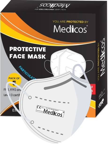 MediCos FFP2 / EN149 European standards approved, CE, ISO certified N95 mask With 2 Layer of Genuine Melt Blown And Hot Air-Cotton for face Anti Pollution, protective. Third Party Tested by manufacturer at SGS & Ministry of Textiles 8BFXSM4BB Water Resistant, Reusable, Washable