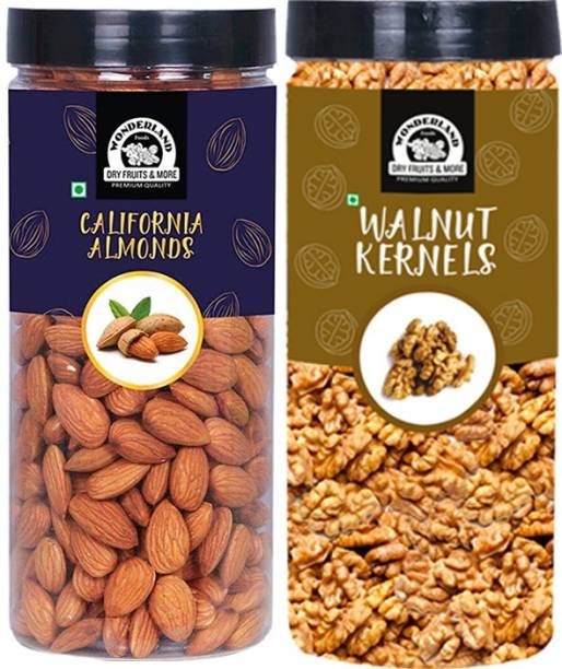 WONDERLAND Dry Fruits Combo Almond 500g & Walnut kernel 350g Dry Fruits Combo - 850g (Jar) Almonds, Walnuts