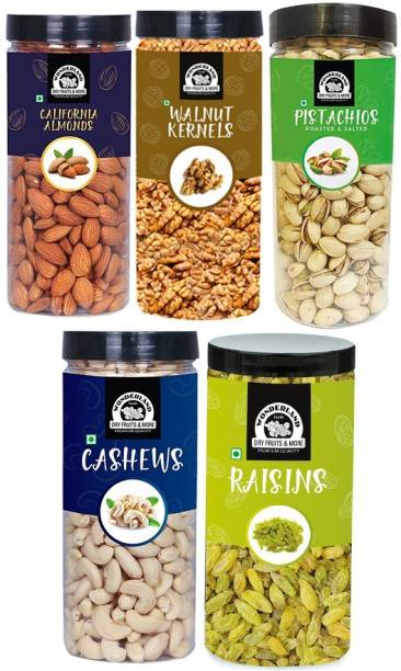 WONDERLAND Dry Fruits Combo Almond 500g, Cashew 500g, Pistachio 500g, Raisin 500g, Walnut 350g - 2350g Cashews, Raisins, Pistachios, Almonds, Walnuts