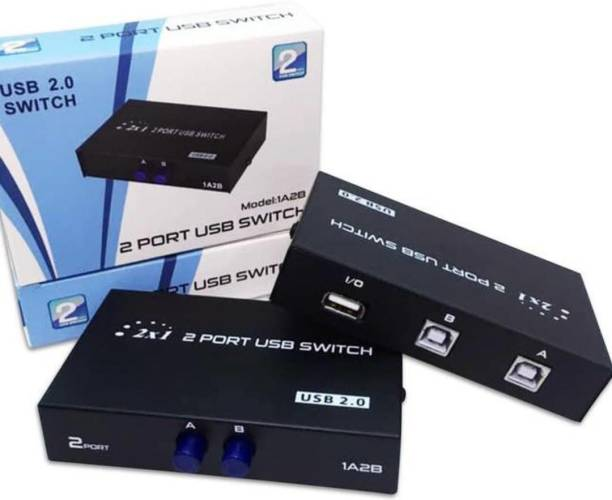 ROTO High Quality 2 Port Printer/Scanner Sharing Switch/Box I USB 2.0/ Hub For Printer Scanner Keyboard And Other USB Supported Devices I Connect 1 Printer with 2 Computer/Laptop I Easy to Connect I Plug & Play I No Driver / Software Required Media Streaming Device
