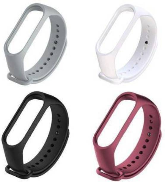 Asotai Combo pack of 4 Silicone Straps for models Xiaomi Mi Band 4 and Mi Band 3, with Plain design and colors - Black, White, Grey and Wine Red (Device not included) Smart Band Strap