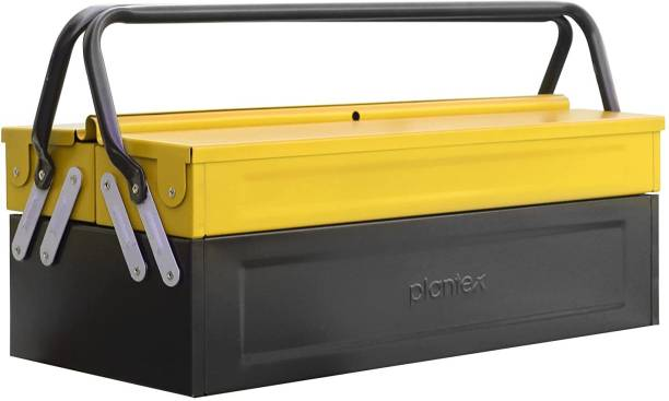 Plantex Metal Tool Box for Tools/Tool Kit Box for Home and Garage/Tool Box Without Tools-3 Compartment (Yellow & Black) Tool Box