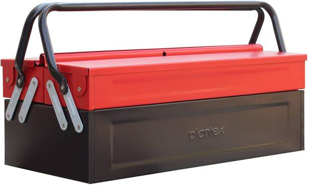 Plantex Metal Tool Box for Tools/Tool Kit Box for Home and Garage/Tool Box Without Tools-3 Compartment (Red & Black) Tool Box