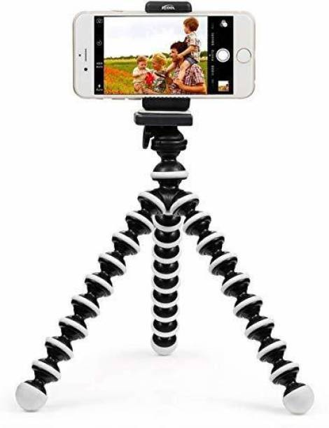 Crozier Gorilla Tripod/Mini Tripod 13 inch for Mobile Phone with Holder for Mobile, Flexible Gorilla Stand for DSLR & Action Cameras (Black, White, Supports Up to 1500 g) Tripod