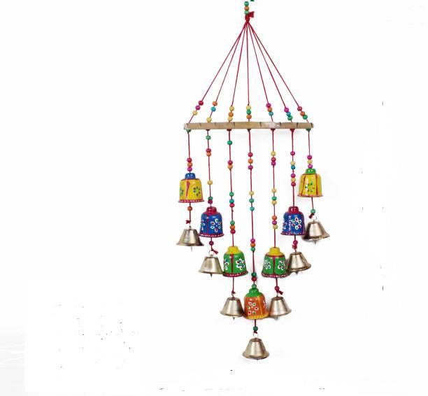 RVART Handcrafted Bells Design Wood Windchime (Multicolor) Wood Windchime Aluminium, Plastic, Polyresin Windchime