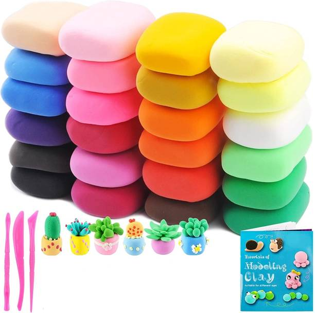 OBAMA DIY Colourful Non-Toxic Modeling Air Dry Bouncing Clay with Tools (12 Pcs)