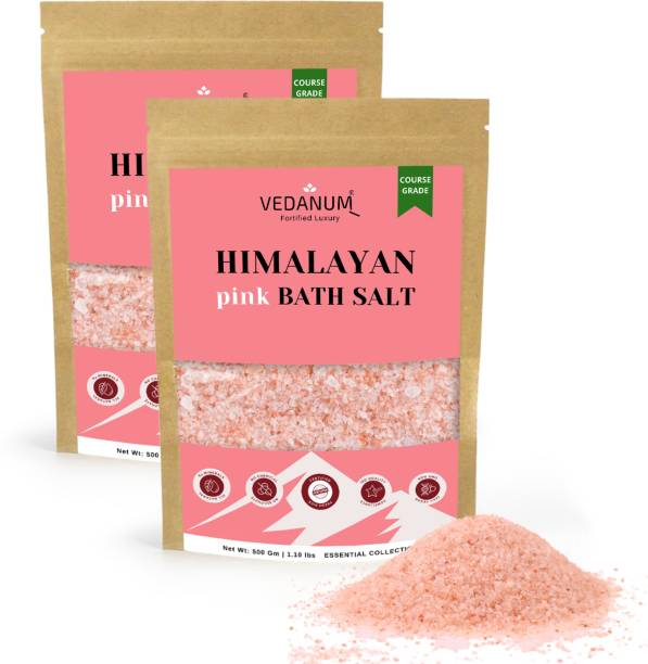 Vedanum Himalayan Pink Bath Salt Organic Course Grade Ultra Premium Quality with Rich Minerals and Goodness of Natural Skin Therapy Elements 1 KG Pack