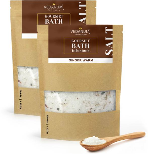 Vedanum Fortified Blended Epsom Bath Salt Infused with Ginger and Minerals for Warm Skin Treatment, Rashes, Scar and Acne Treatment, Pain Relief, and Soar Muscles 1 KG Pack