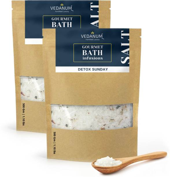 Vedanum Fortified Aromatic Epsom Bath Salt Infused with Pure Chamomile and Minerals for Muscle Relief, Skin Treatment, Body Massage, Relaxing, and Pain Relief 1 KG Pack