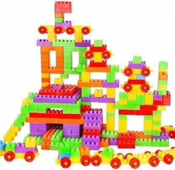 Lakshita Enterprise Building Blocks for Kids with Wheel, 200+ Pcs Packing, Best Gift Toy, Block Game for Kids,Boys,Children Multicolor (200+ PC)