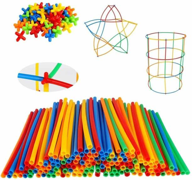 maainfinity MAA INFINITY PVC fiber assemble STICK toy & STRAW & PIPE & assembling BLOCK joint toys kit under create & build to GROW kids creativity & children PUZZLE solving & boy ENGINEERING skill & girl IQ buster & baby EDUCATIVE idea(50PCS SET)