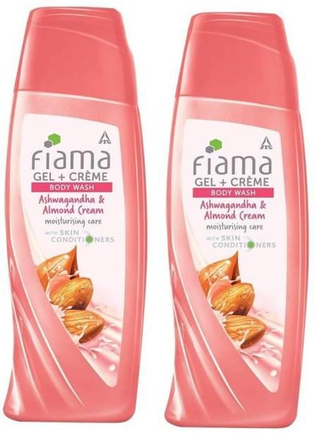 FIAMA Gel + Creme Body Wash - Ashwagandha & Almond cream moisturising care with skin conditioners (2*200ML)