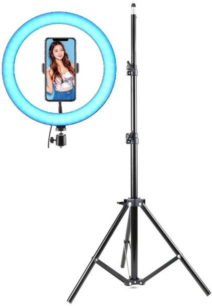 Alchiko RGB 10 Inch Big LED Ring Light With 2.1 Big Tripod 360 Degree Rotating Compatible With All Smartphones & Cameras, For Live Streaming, Make Up, Video Conference, Online Classes 2500 lx Camera LED Light