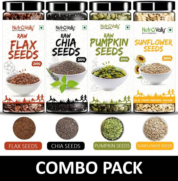 NutroVally Raw Chia Seeds, Flax Seeds, Pumpkin Seeds, Sunflower Seeds Combo Loaded with Omega 3, Zinc, Fiber, Calcium, Protein for weight loss, Healthy Heart and Boost Immunity seed for Eating