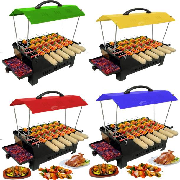 HOT LIFE Portable Outdoor Barbeque Grill Toaster Electric & Charcoal BBQ-52140 Grill Oven Black Carbon Steel, multi colour Hut Shape Electric Grill Electric Tandoor Electric Tandoor