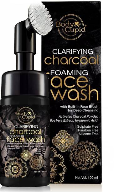 Body Cupid Clarifying Charcoal Foaming  (with built-in-brush) - 100 ml Face Wash