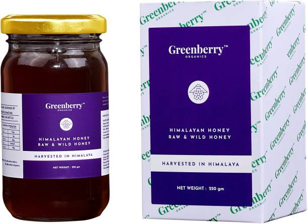 Greenberry Organics Himalayan Harvested Raw & Wild Honey, Pure & Natural, Beehive Harvested, Glass Jar, ZERO Preservatives & Sugars, 250 Gram