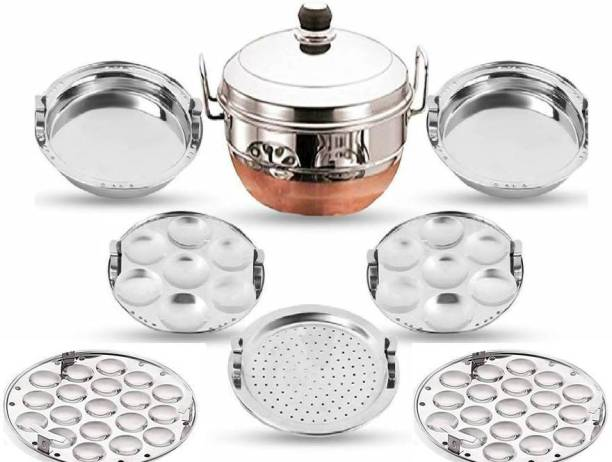 IM ENTERPRISE All-in-One Stainless Steel Idli Cooker Multi Kadai Steamer Copper Bottom With Lid, Big Size with 5 Plates 2 Idli, 2 Dhokla, 1 Patra Plate Induction & Standard Idli Maker Multi Kadhai,Pot Pan Set Combo Tope Copper Tapeli/Patila/Cookware/Dhokaliyu/Dhokla Maker, Patra Maker, Momo's, Curries ,Handi Copper Bottom Bowl Set Dhokli Maker Set, Cooking Ware (KitchenWare/Home Appliances)Cooking Ware Cookware Combo Multi Purpose Unique Latest Design Good Quality Handi Bowl Idli Maker Paddu Maker / Dhokla Making Kadai Cooking Set Standard Idli Maker
