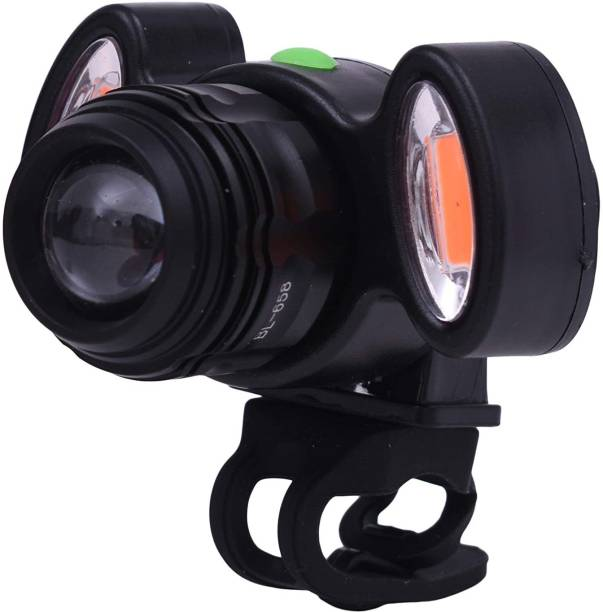 BabyGo Bicycle Zoomable 4 Mode Headlight and 2 Warning Lights, with USB Rechargeable LED Front Light