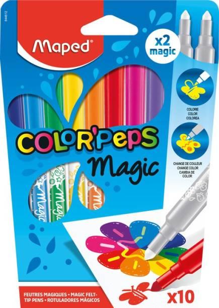 Maped Color'Peps Magic 8 Felt Tip Markers and 2 Color-Change Magic Marker Set