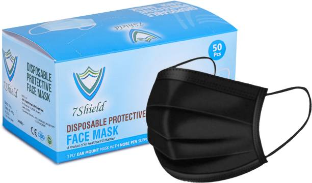 7SHIELD CE and ISO Certified Face Mask with Nose clip and soft ear loops 3PLY Water Resistant Surgical Mask 100pcs Black 3 ply disposable filter protection breathable dust proof Water Resistant Surgical Mask