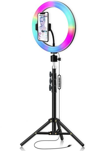 Alchiko 2.1 Big Tripod With RGB 10 Inch Big Ring Light Adjustable Brightness Best Quality Portable Foldable Umbrella Flash Light Stand Compatible With All Smartphones & Cameras, For Live Streaming, Make up, Video Conference, Online Classes 2500 lx Camera LED Light