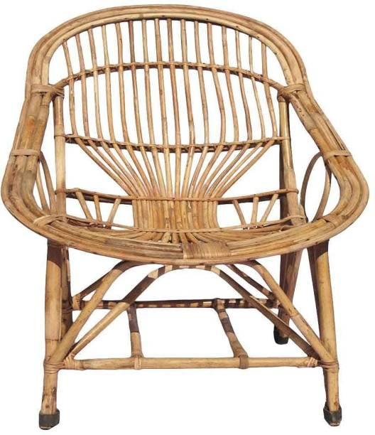 DNEXUS Bamboo Cane Lawn Chair, Balcony Chair, Garden Chair with Cushion (Brown) Bamboo Cafeteria Chair