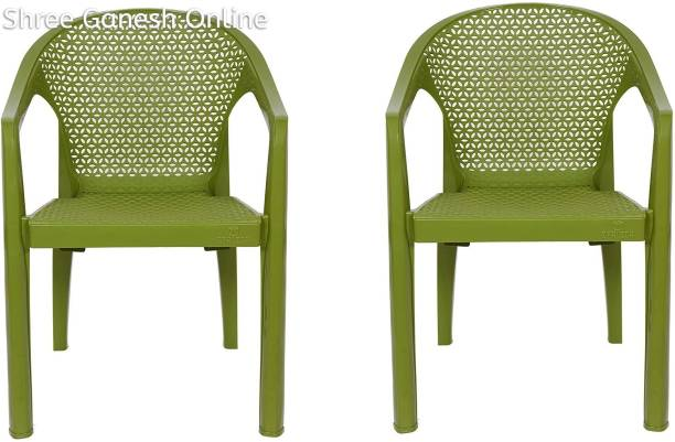 ITALICA ( SHREE GANESH ONLINE ) original seller Spine Care 2109 Work from Home Chair (Matte Finish, Green) Plastic Outdoor Chair