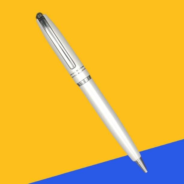 TEUER Genius White Pen With Silver Clip Metallic Ball Pen Ball Pen
