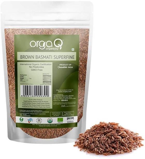 OrgaQ Organicky Organic Brown Basmati Superfine Rice Brown Basmati Rice (Long Grain)
